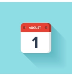 August 1 Isometric Calendar Icon With Shadow vector