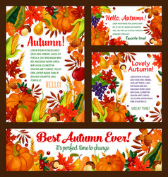 Autumn foliage pumpkin maple leaf poster vector