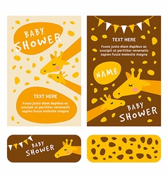 Baby shower invitation card template Colored flat vector