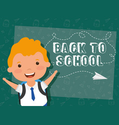 Back to school card with student boy vector