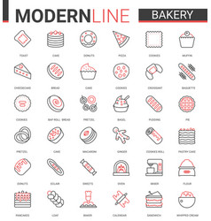 bakery flat thin red black line icon vector image