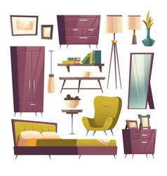 bedroom furniture cartoon set for room interior vector image