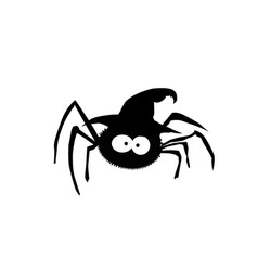 black silhouette of spider in witch hat isolated vector image