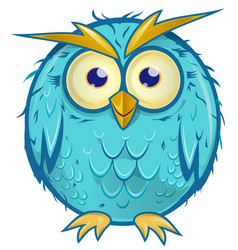 Blue owl cartoon isolated on white background vector
