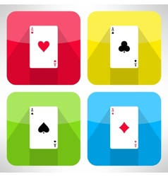 Bright playing cards ace icons set in modern flat vector image