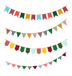 Bunting set party flags garland with ornament vector