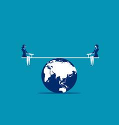 Businesswomen balanced on seesaw over globe vector