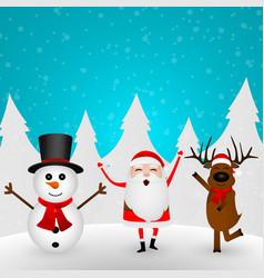 cartoon funny santa claus reindeer and snowman vector image