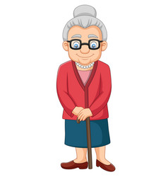 cartoon old woman with a cane vector image