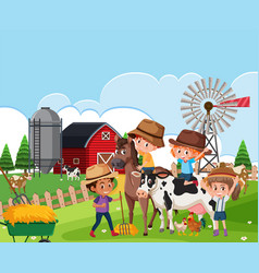 children at farm landscape vector image
