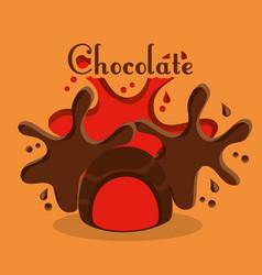 chocolate candy poster dessert cream splash vector image