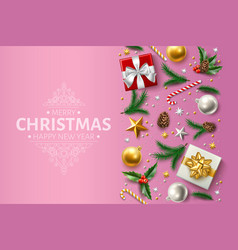 Christmas background holly spruce present vector