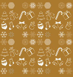 christmas seamless pattern on yellow background vector image