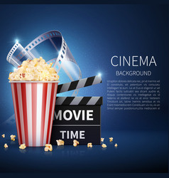 Cinema 3d movie background with popcorn and vector