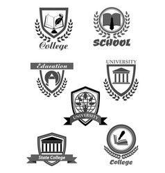 College or university and school icons set vector