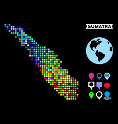 Colored dotted sumatra island map vector