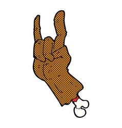 Comic cartoon hand making rock symbol vector