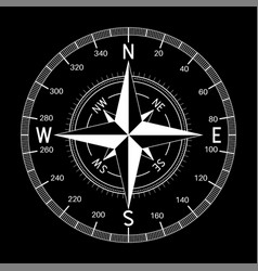 Compass white on black background vector