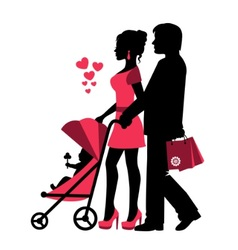 couple rolls stroller with a baby vector image