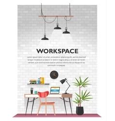 Creative office interior in loft space vector