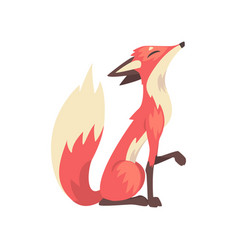 Cunning red fox character sitting side view vector