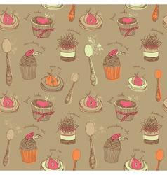 Cupcakes Tea Set Pattern vector image