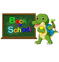 cute crocodile with back pack vector image