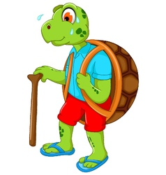 Cute turtle cartoon walking with stick vector