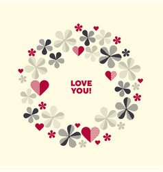 decorative geometric flower and hearts vector image