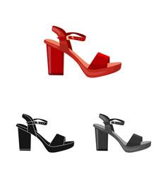 Design of footwear and woman symbol set of vector