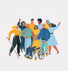 disabled people and they friends vector image