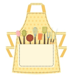 Dotted kitchen apron with kitchen utensils in the vector image