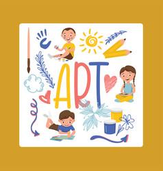 drawing kids boy girl character painting vector image