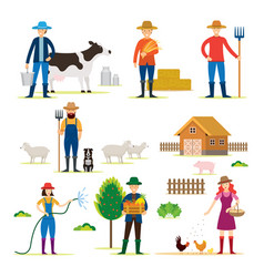 Farmer gardener characters with agriculture vector