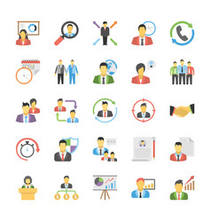 Flat icons of human resources vector