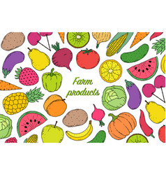 flyer with vegetables and fruits vector image