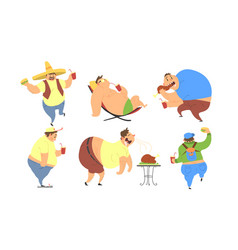 funny fat men set bad habits unhealthy lifestyle vector image