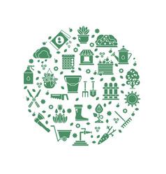 Gardening logo with garden tools icons vector
