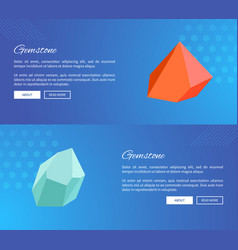 Gemstone webpages design with push buttons vector