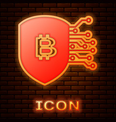 Glowing neon shield with bitcoin icon isolated on vector