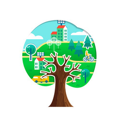 green city tree concept for environment care vector image