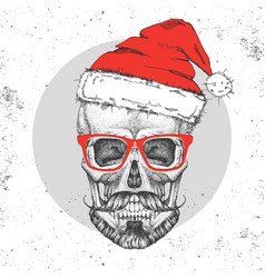 hand drawing hipster skull with new year hat vector image