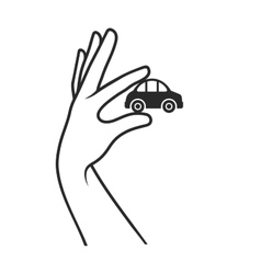 Hand with Car on White Background Sale or Buy vector image