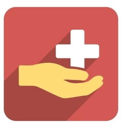 Health Care Donation Flat Rounded Square Icon with vector image