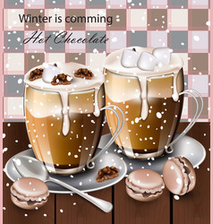 hot chocolate beverage in glasses winter vector image