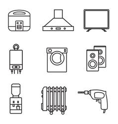 Household appliances icon set black sign on white vector