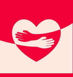 Human hugs in heart shape hugging hands support vector