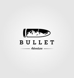 hunt logo mountain adventure in bullet symbol vector image