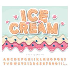 ice cream wafer font cute cartoon alphabet paper vector image