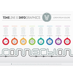 Infographic timeline about connection with eight vector image